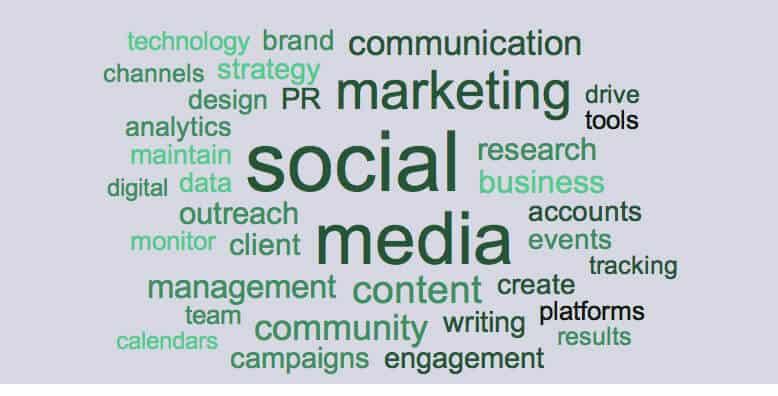 Social Media resume keywords