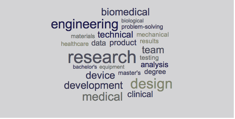 Biomedical engineering resume keywords
