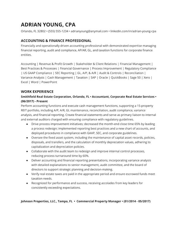 Accountant resume example 1