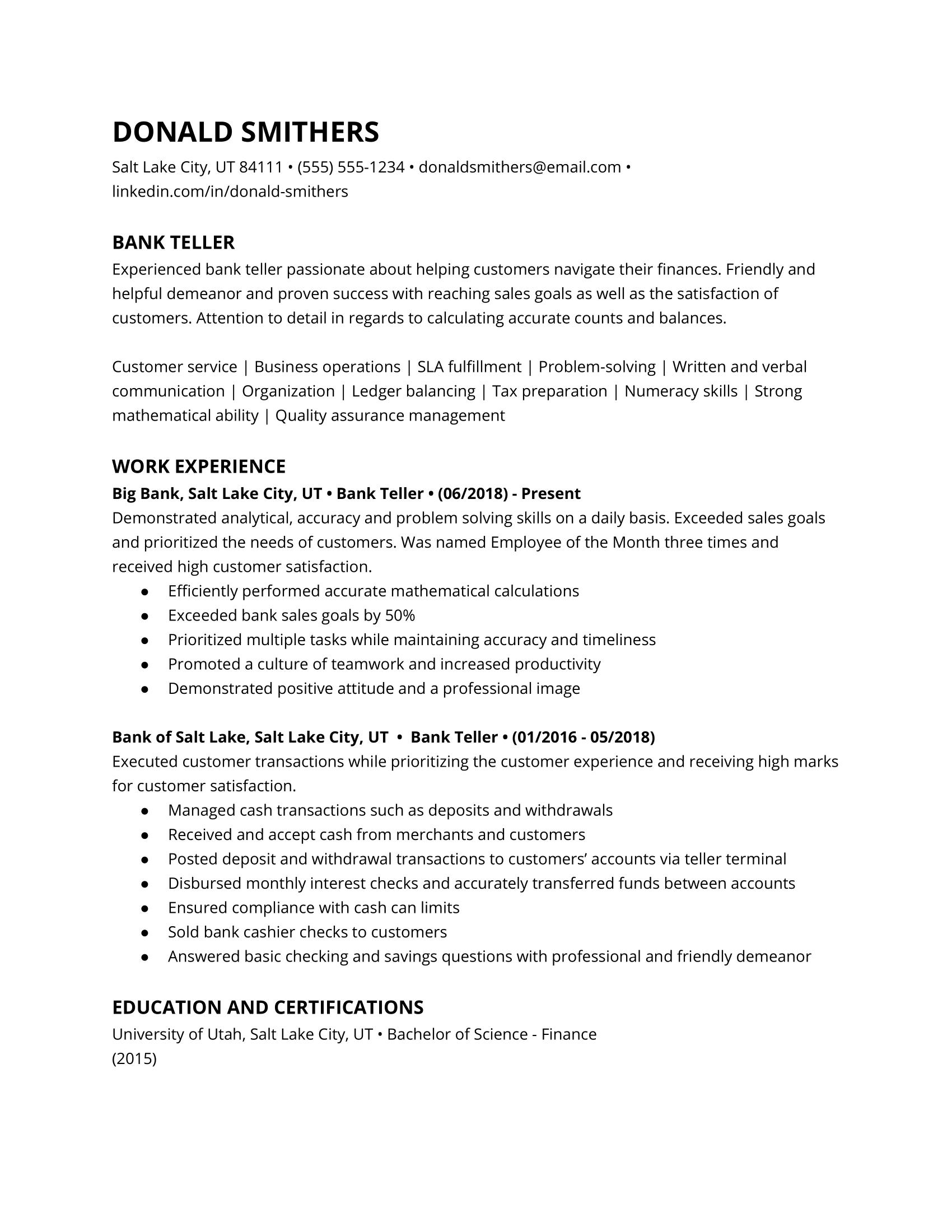 Bank Teller Resume Example 2