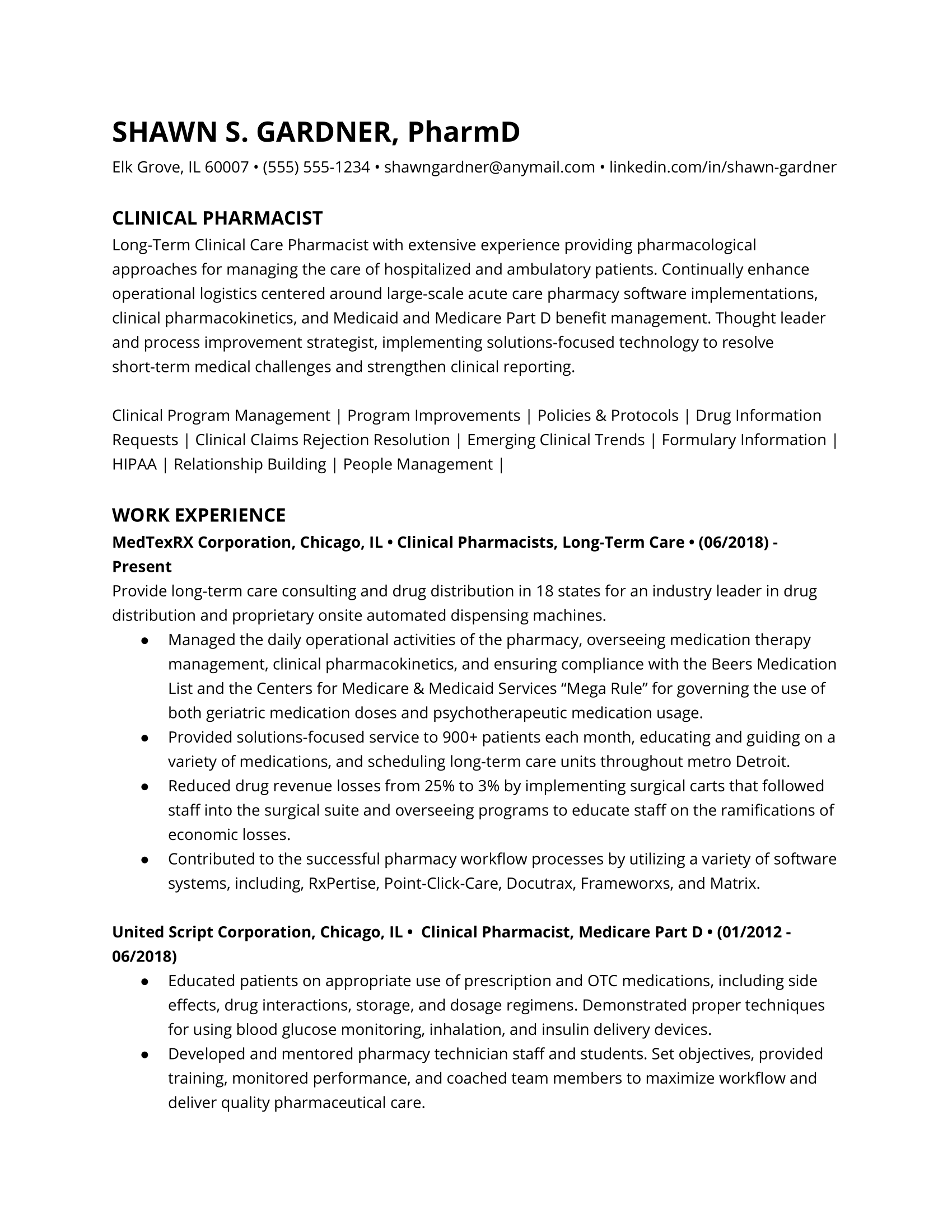 Clinical pharmacist resume example
