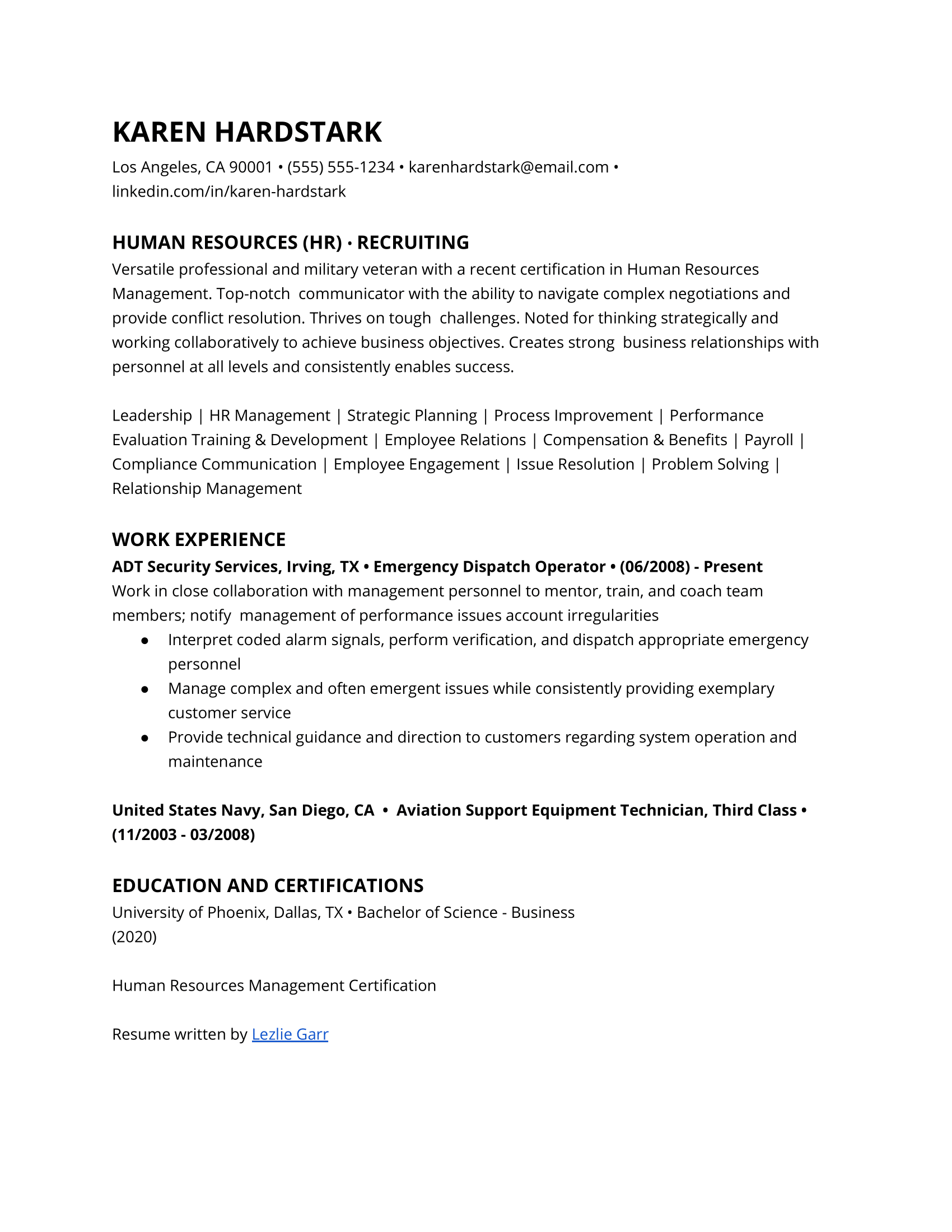 Entry-Level Human Resources Resume Example