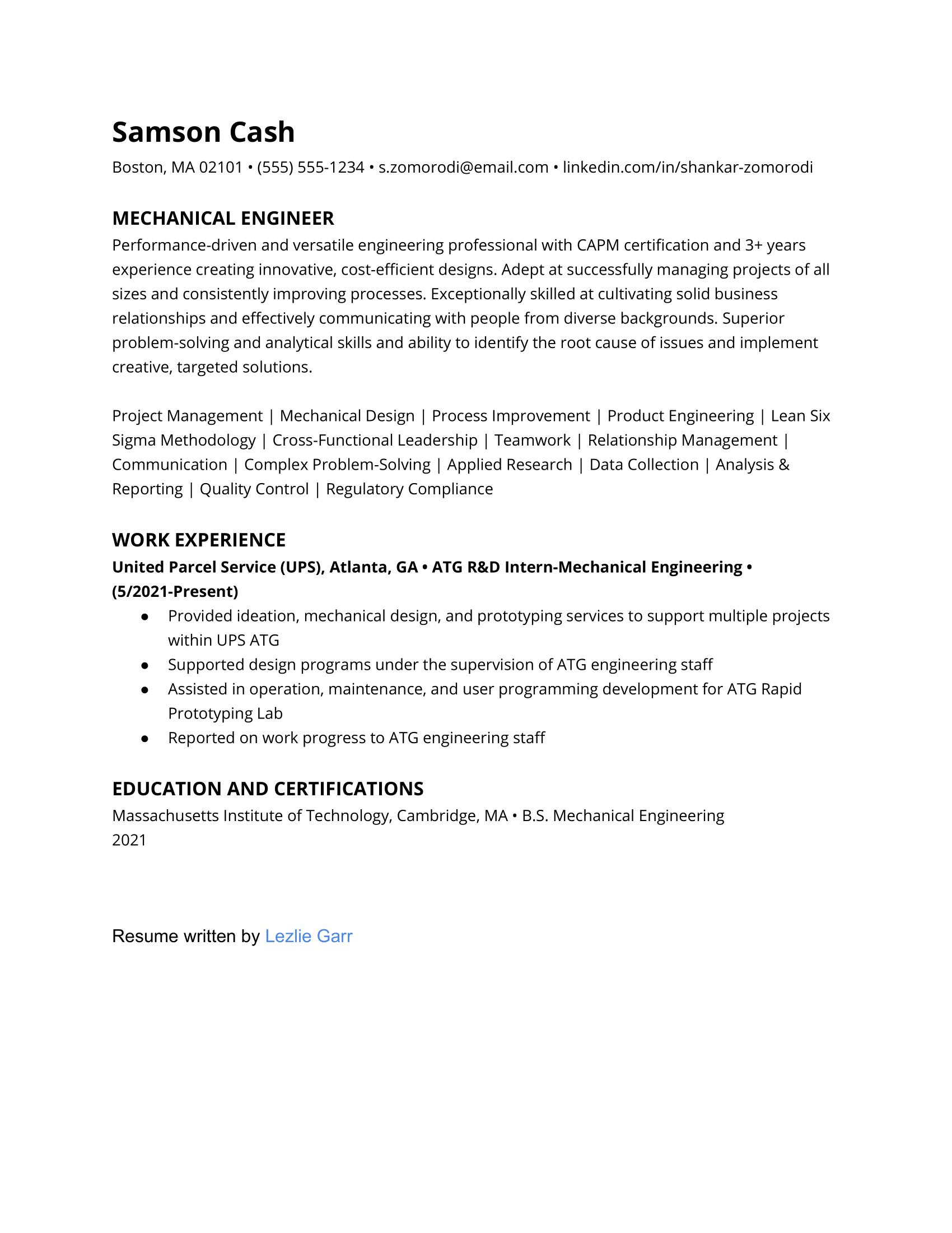 Entry-level mechanical engineering resume example