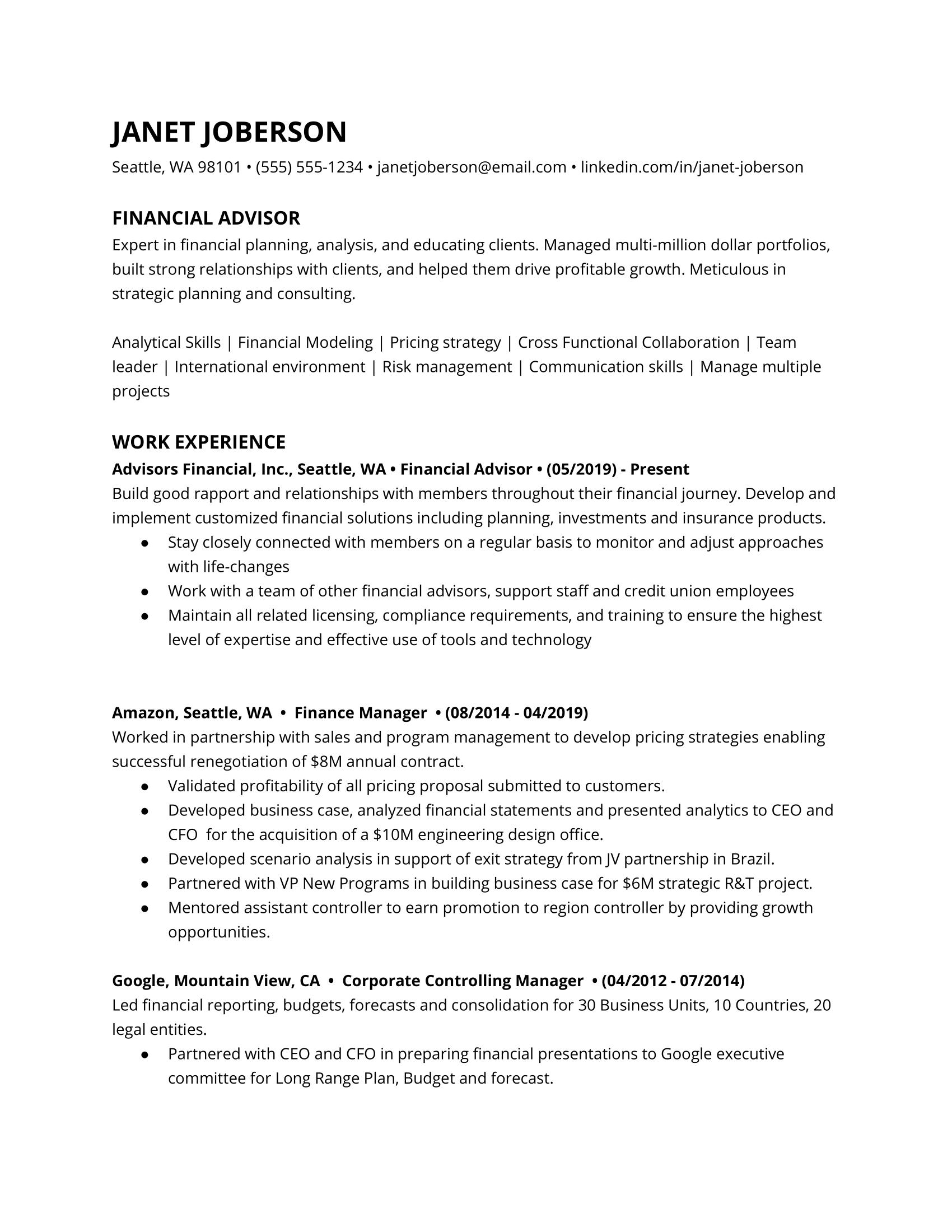 Financial Advisor Resume Example 3
