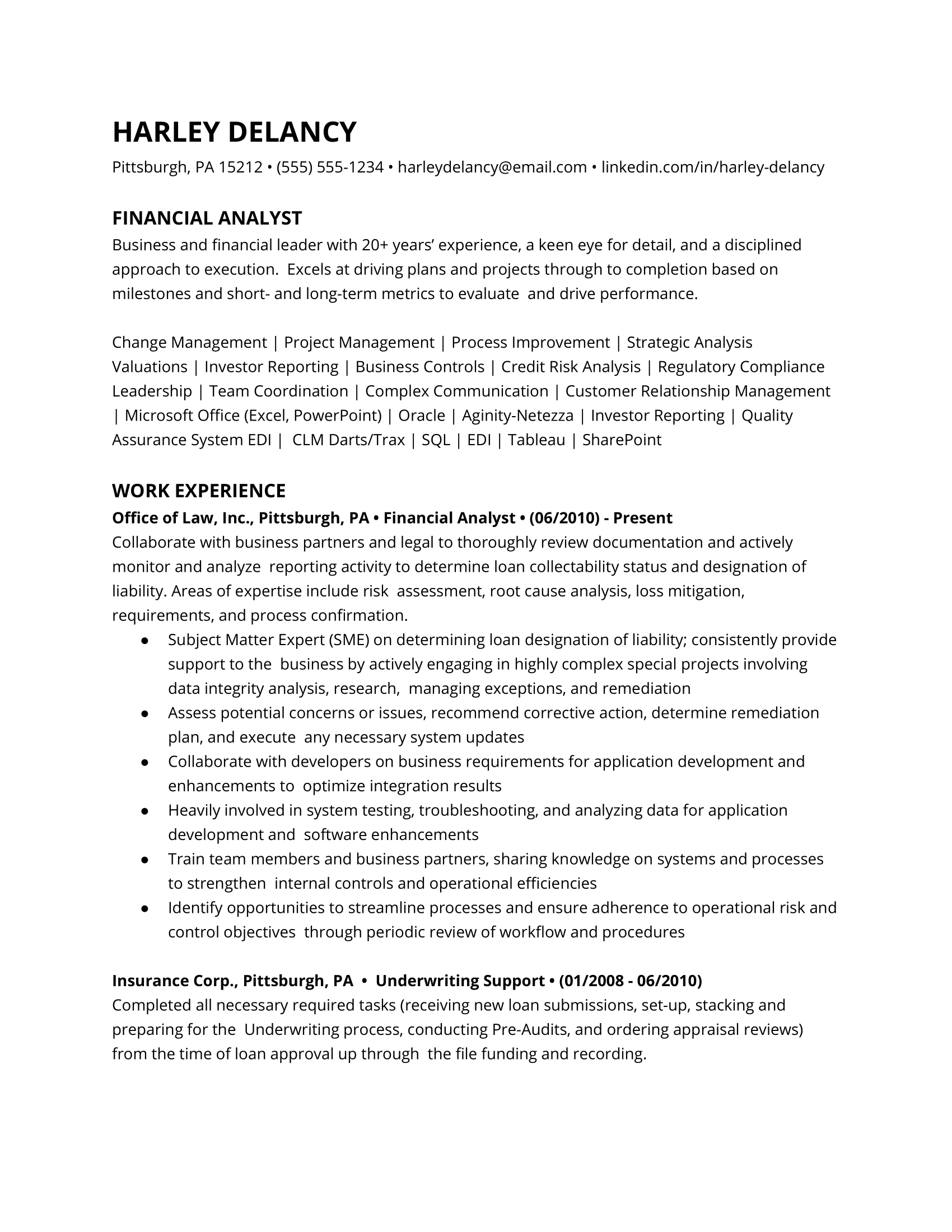 Financial Analyst Resume Example 1