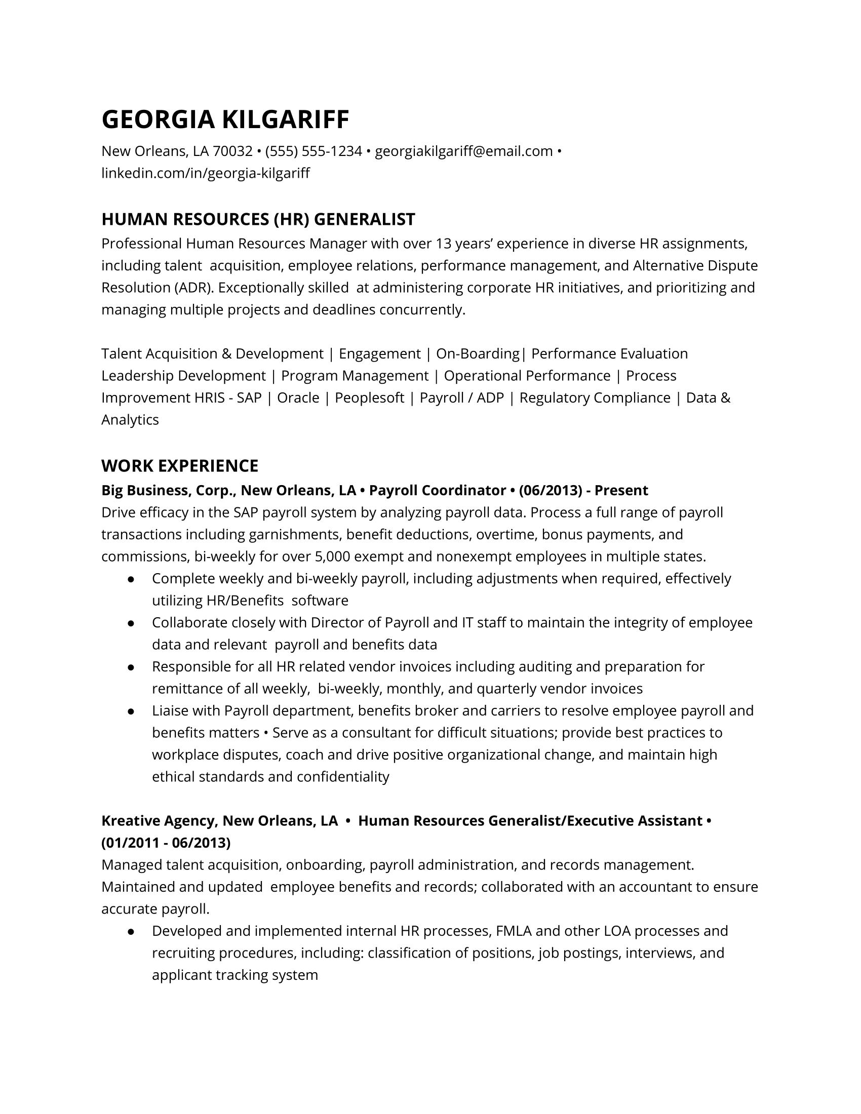 HR Generalist Resume Example