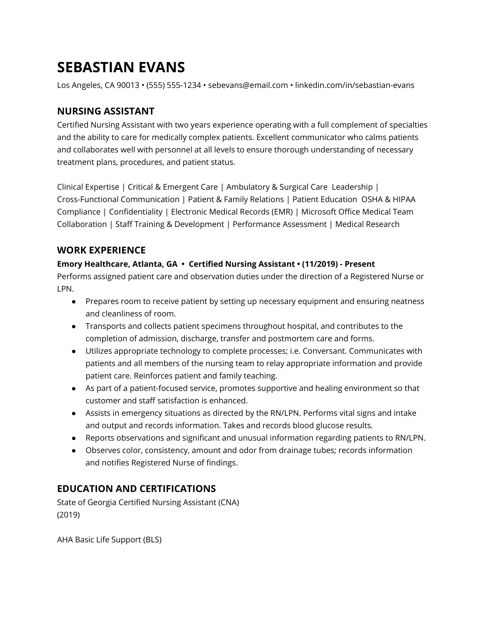 Nursing assistant resume example
