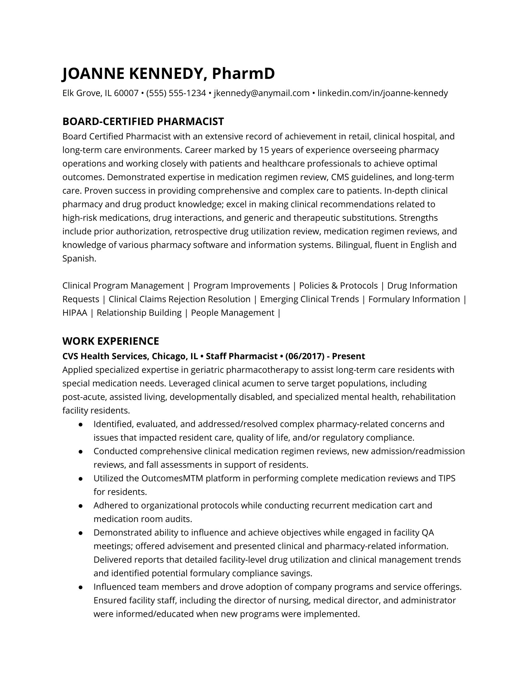 Pharmacist resume example