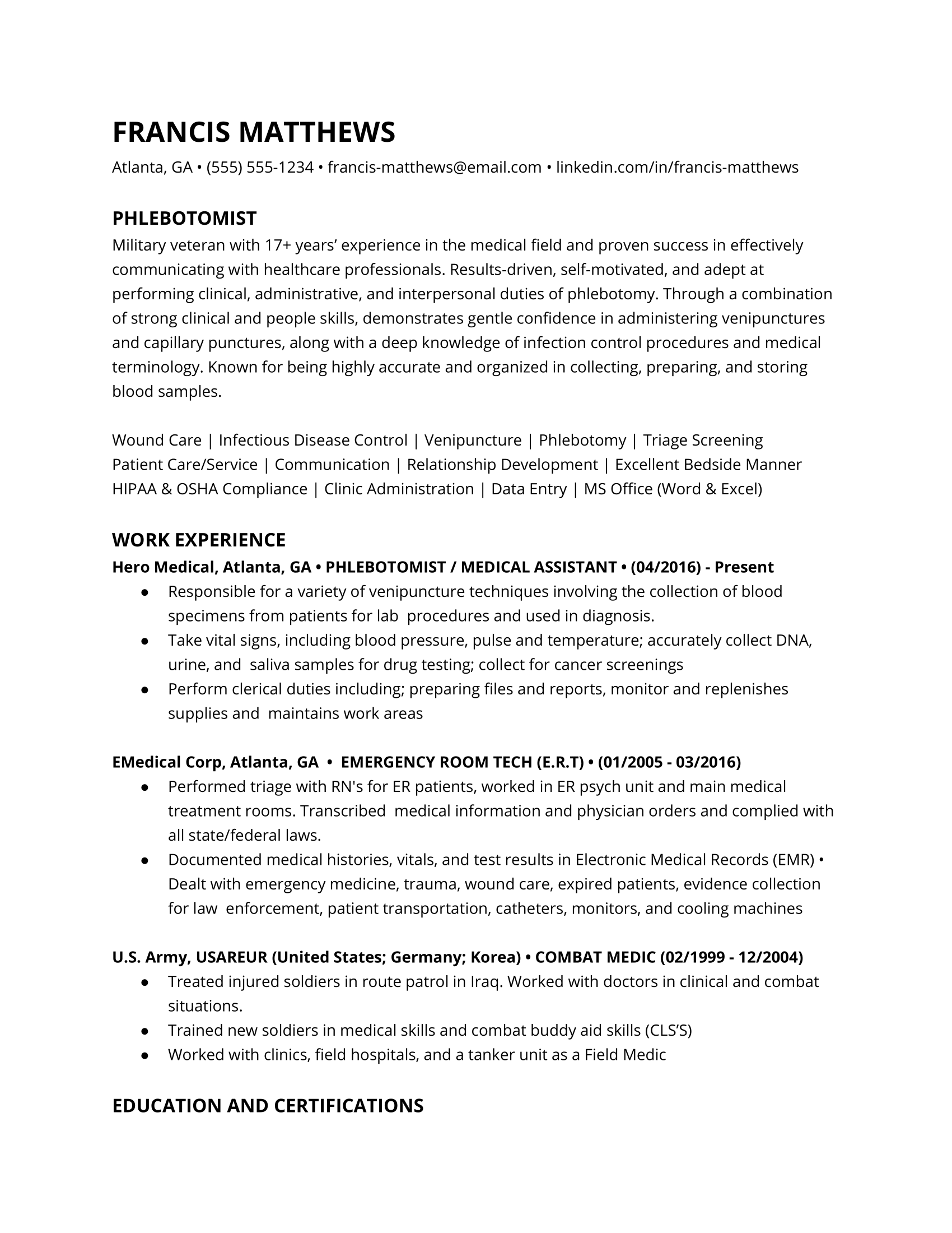 Phlebotomist resume example