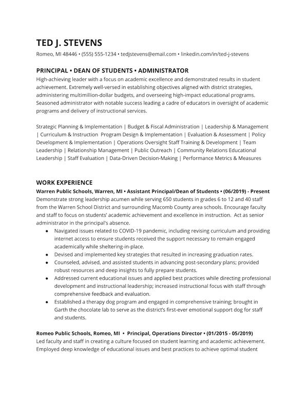 Principal resume example