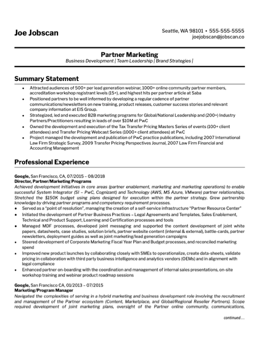 Marketing - Business Dev