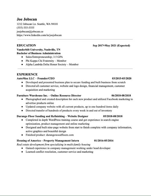 Recent Graduate 2