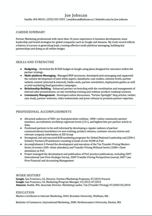 Business Developer Resume