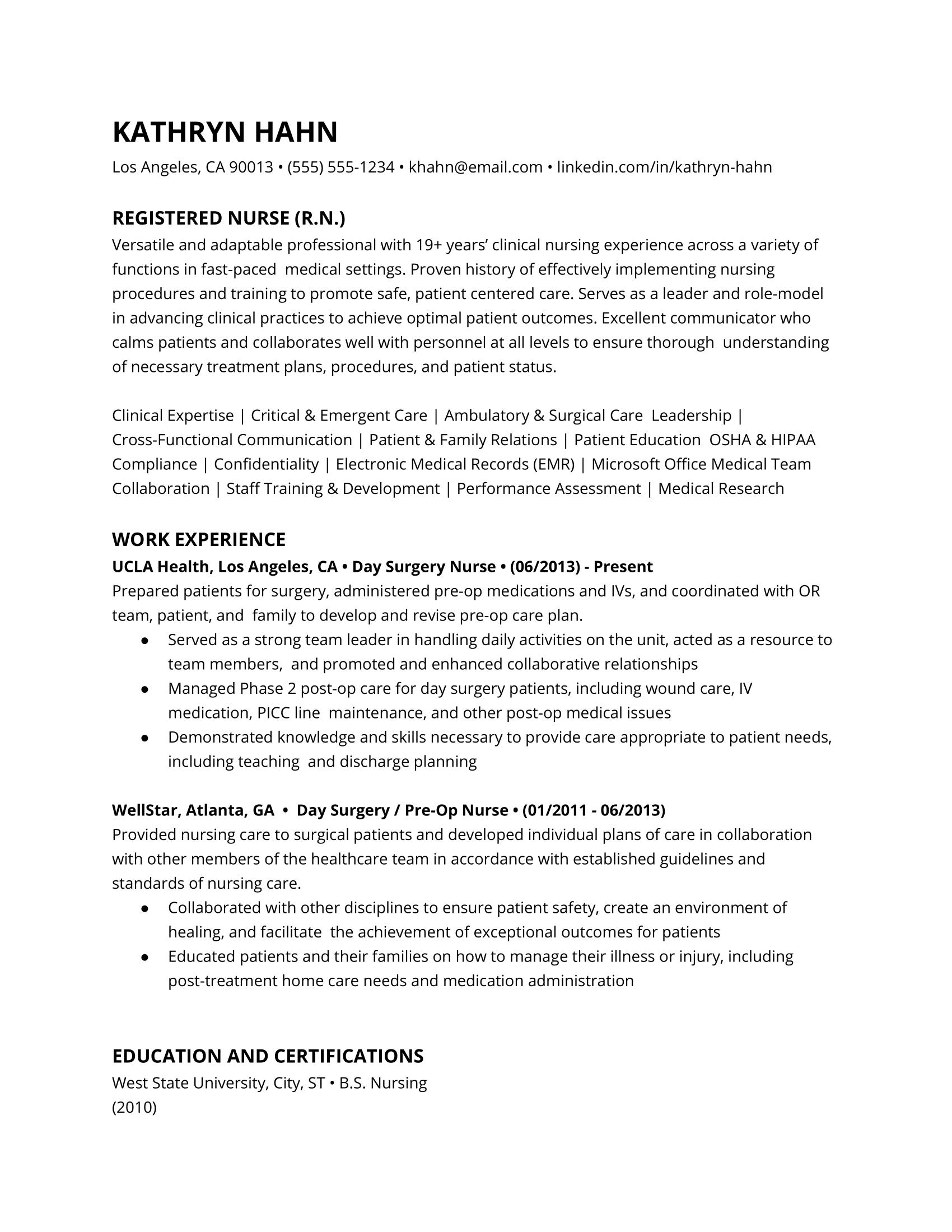 Registered nurse resume example