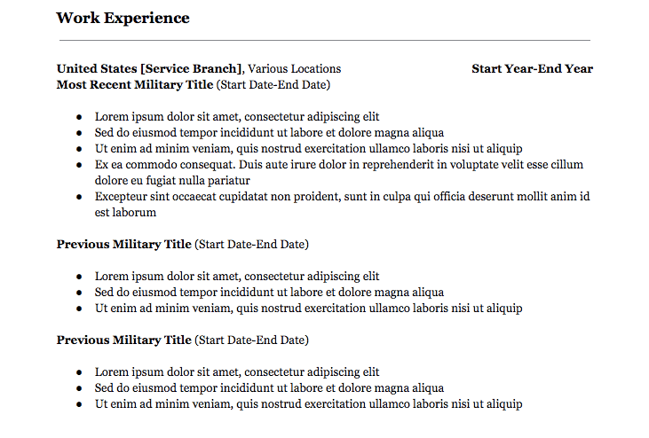 military to civilian resume example