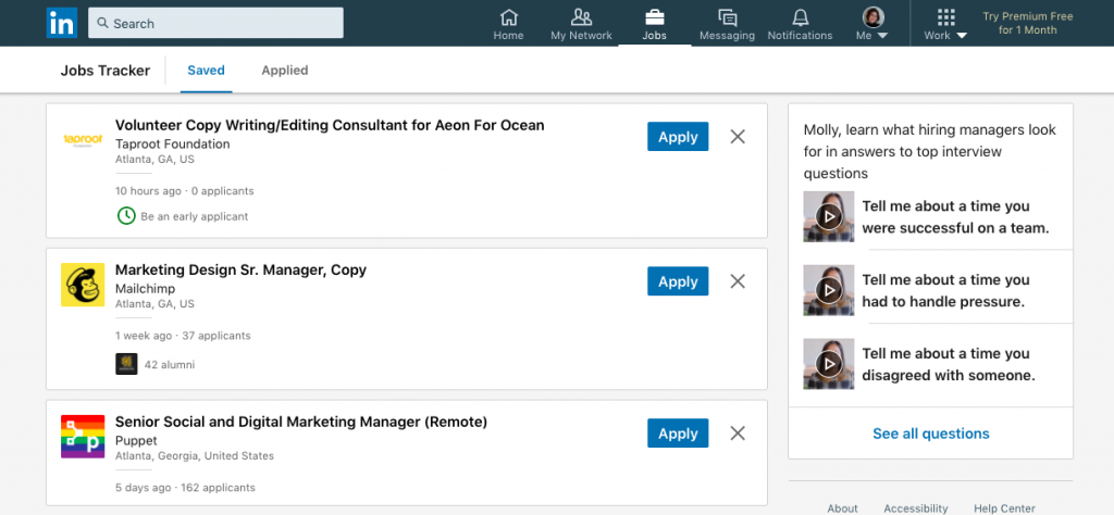 linkedin in saved jobs in job tracker