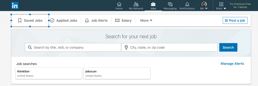 saved jobs in job tracker linkedin