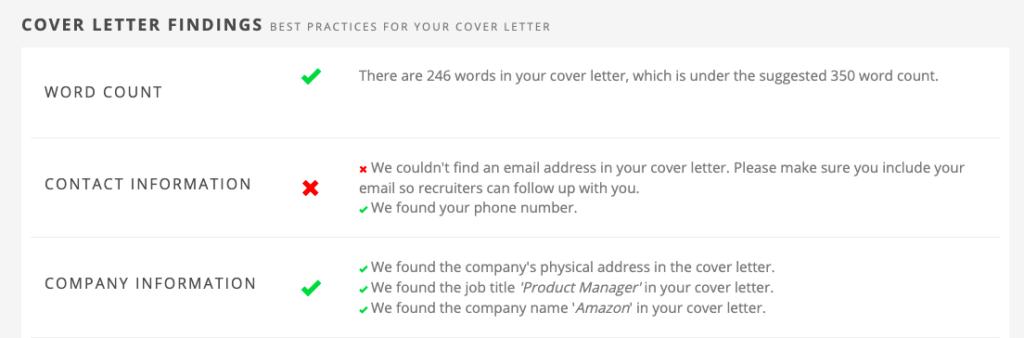 Jobscan cover letter findings