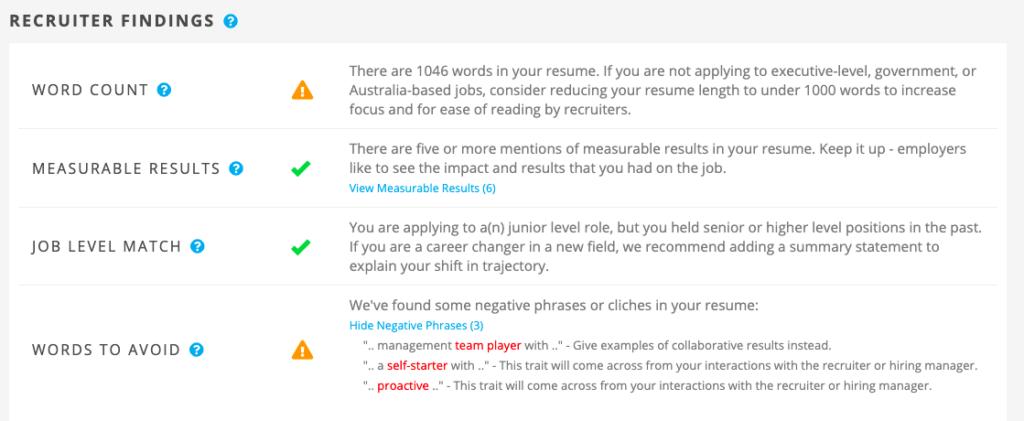 Jobscan's Recruiter Findings