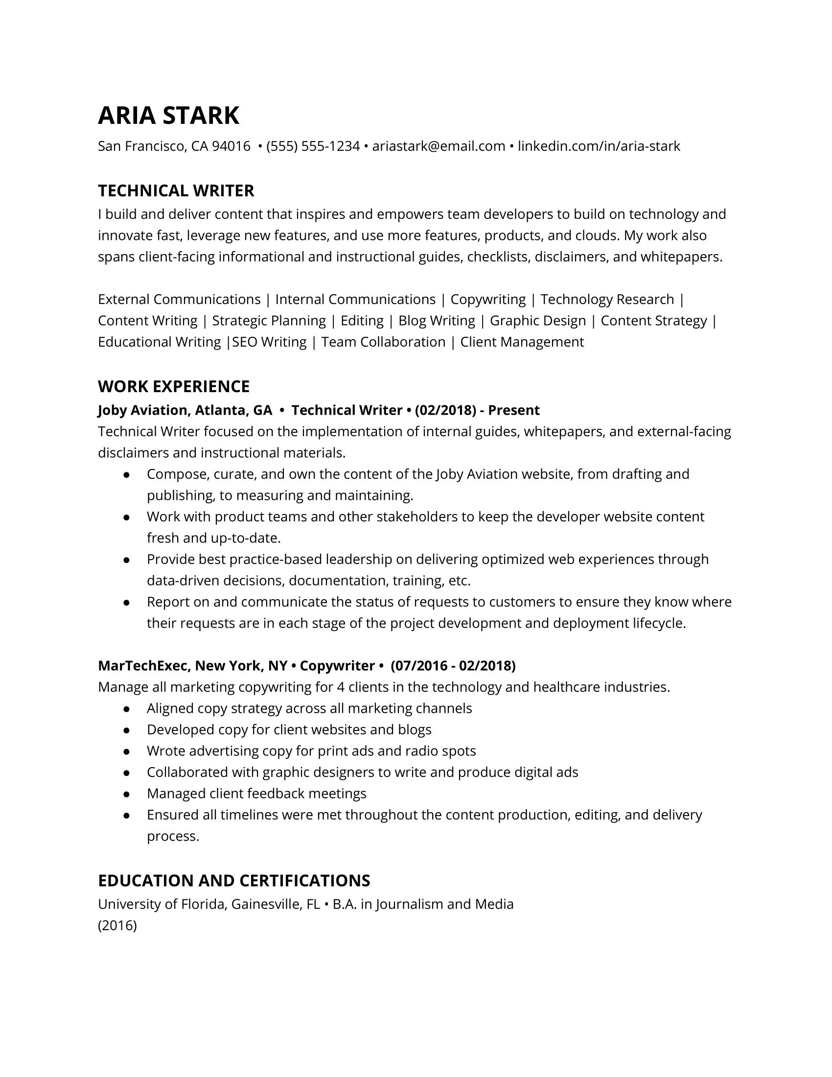 Technical writer resume example
