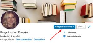 linkedin add profile button