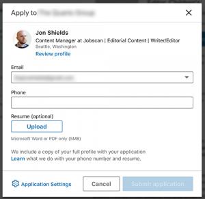 upload a resume to linkedin application