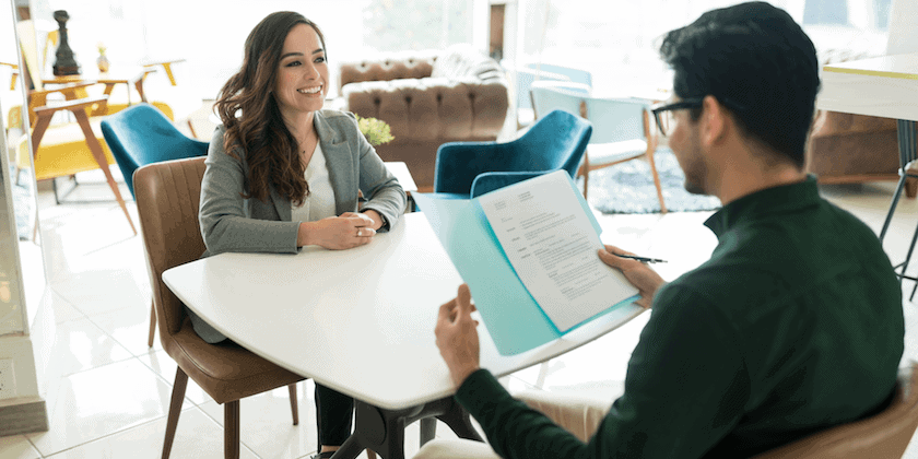 hiring manager reviewing a one-page resume