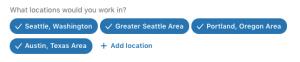 LinkedIn Jobs career interests location setting