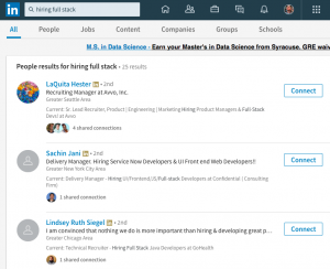 Search for active recruiters on LinkedIn.