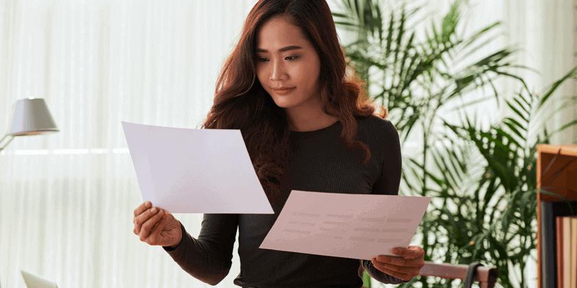 woman reviewing branding statement