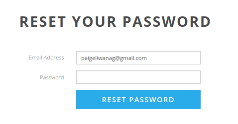 Reset Password Page Coach