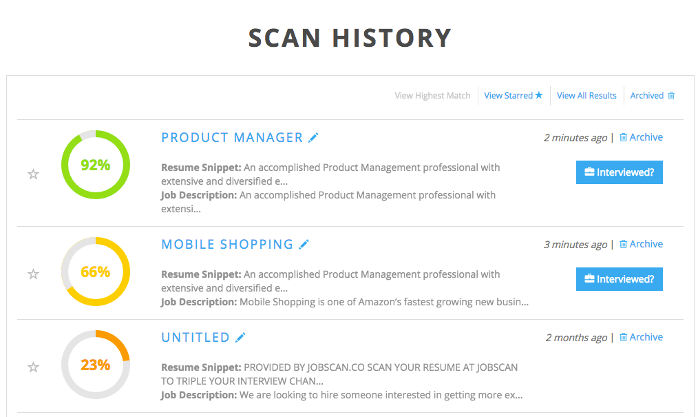 scan history page