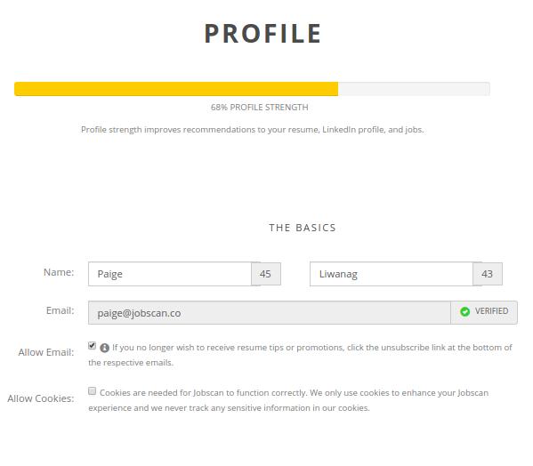 Jobscan Tutorial My Profile