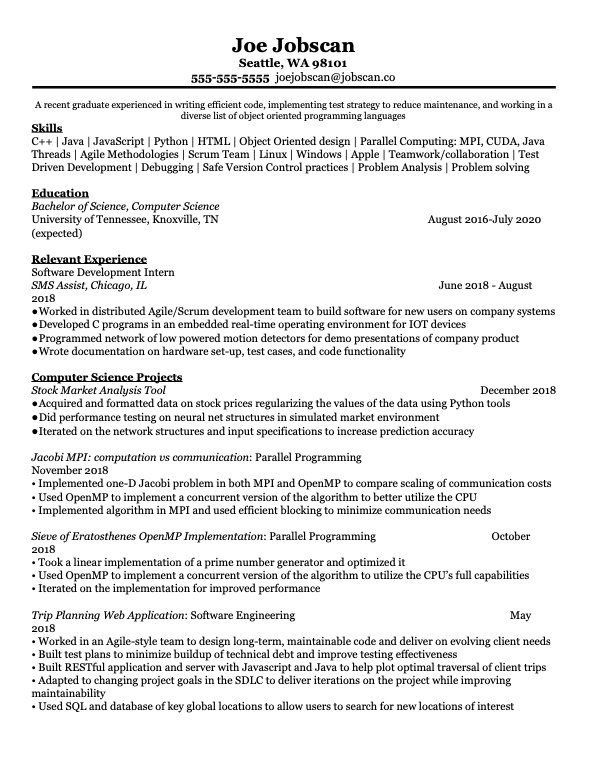 Recent Graduate - Computer Science