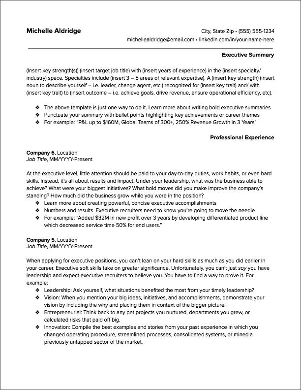 executive resume 2
