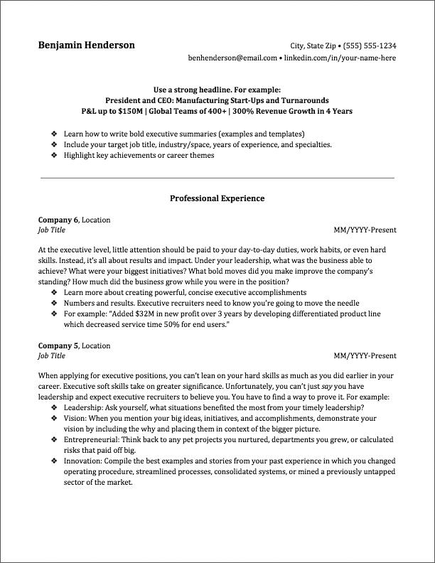 executive resume 6